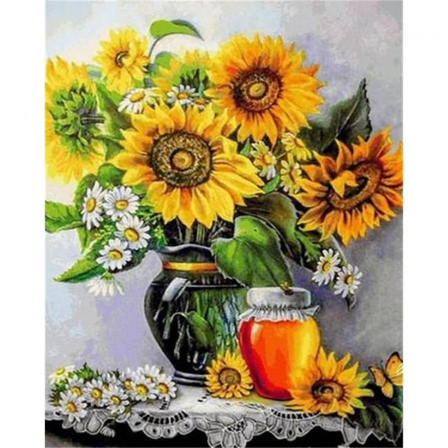 Kit pictura pe numere cu flori, DTP4101