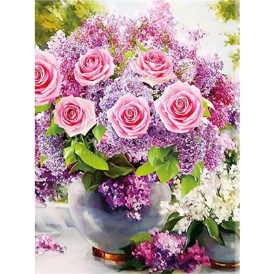 Kit pictura pe numere cu flori, DTP4289
