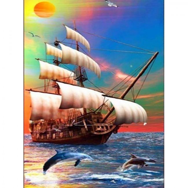 Kit pictura pe numere cu vapoare, DTP4354