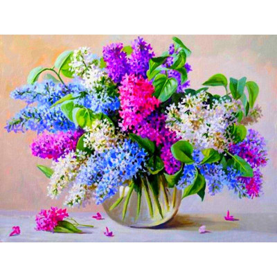 Kit pictura pe numere cu flori, DTP4365