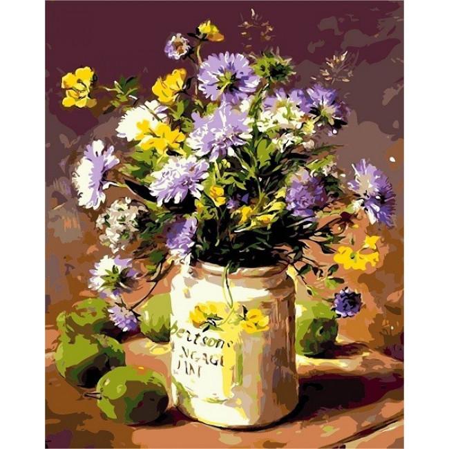 Kit pictura pe numere cu flori, DZ4687