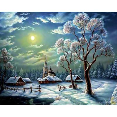 Kit pictura pe numere cu iarna, DTP7131