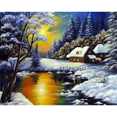 Kit pictura pe numere cu iarna, DTP7135
