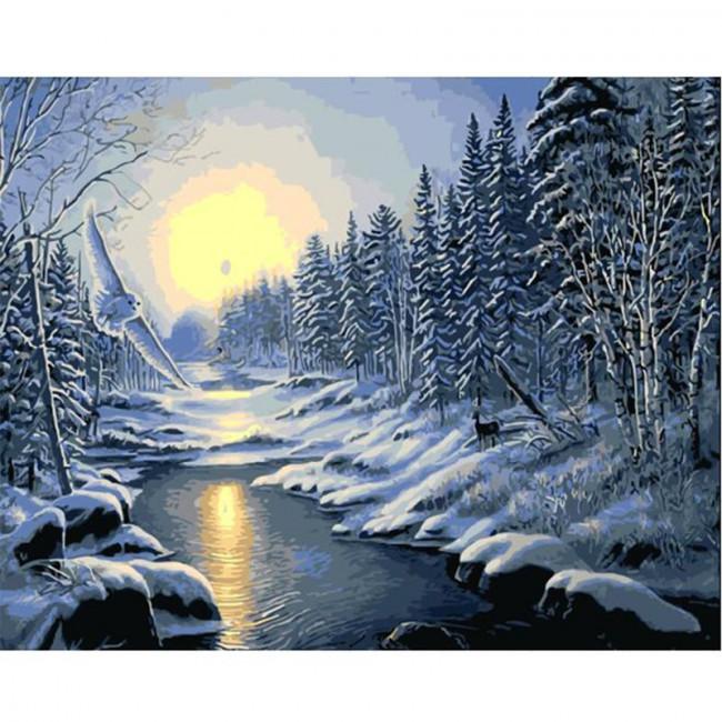 Kit pictura pe numere cu iarna, DTP1200