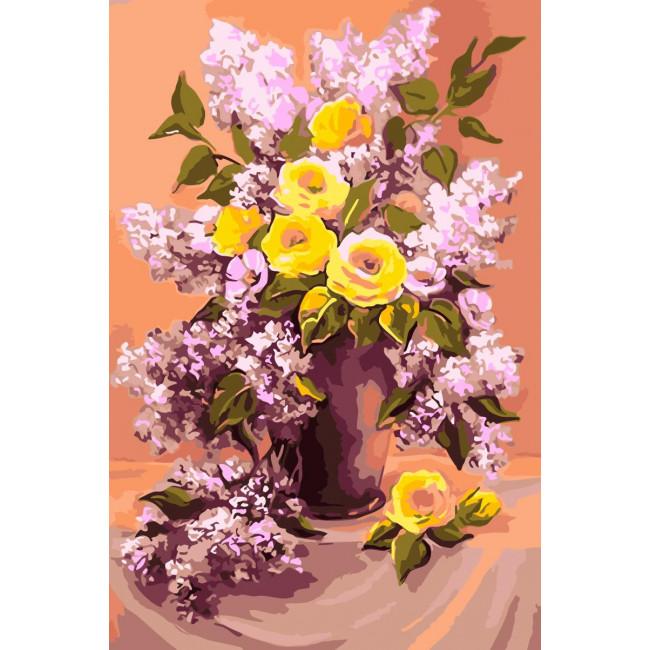 Kit pictura pe numere cu flori, NDTP-046