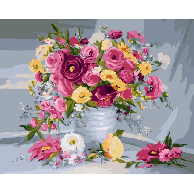 Kit pictura pe numere cu flori, NDTP-1117
