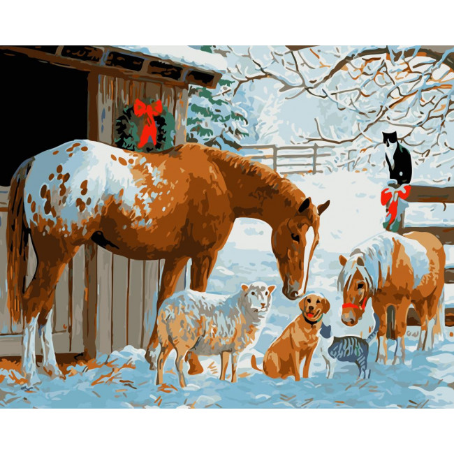 Kit pictura pe numere cu iarna, NDTP-2311