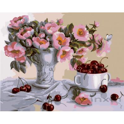 Kit pictura pe numere cu flori, NDTP-4129