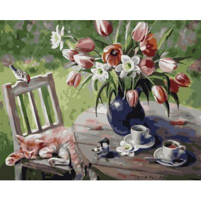 Kit pictura pe numere cu flori, NDTP-4470