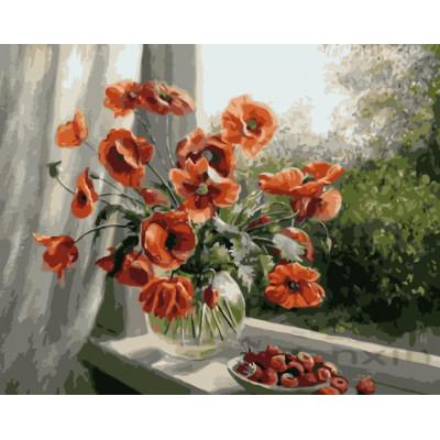 Kit pictura pe numere cu flori, NDTP-4488
