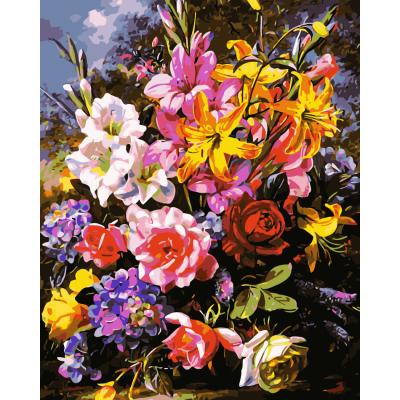 Kit pictura pe numere cu flori, NDTP-738