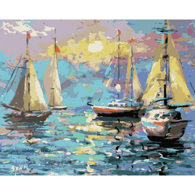 Kit pictura pe numere cu vapoare, NDTP-794