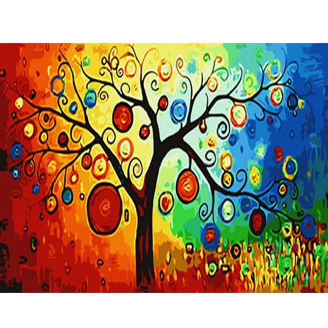 Kit pictura pe numere cu diverse, Abstract Tree
