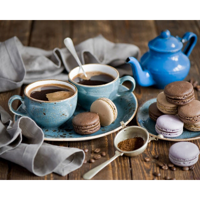 Kit pictura pe numere cu diverse, Coffee & Macaroons