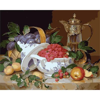 Kit pictura pe numere cu diverse, Raspberrs & plums