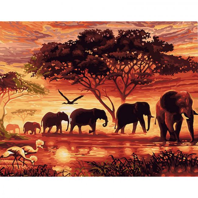 Kit pictura pe numere cu animale, Jungle Sunset