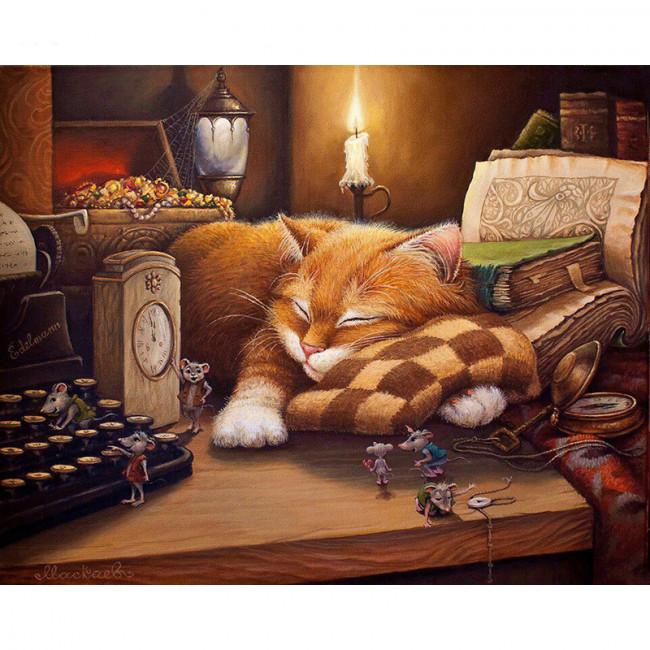 Kit pictura pe numere cu animale, Sleepy Kitten
