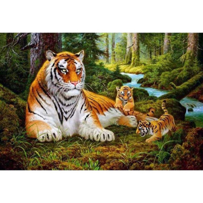Kit pictura pe numere cu animale, Mother & Baby Tigers