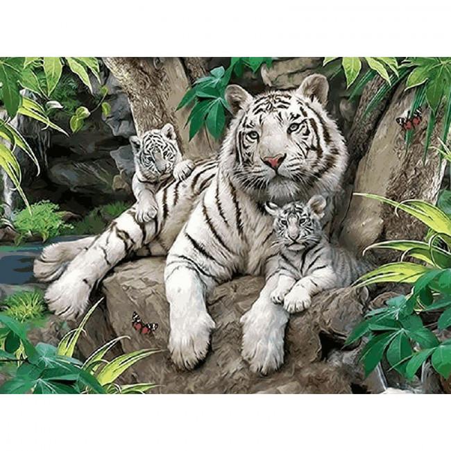 Kit pictura pe numere cu animale, White Tigers Family