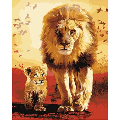 Kit pictura pe numere cu animale, Father & Son