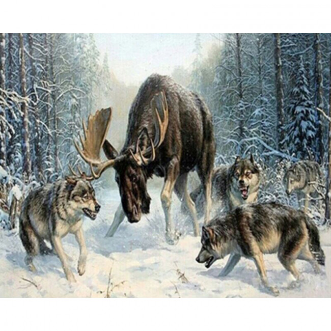 Kit pictura pe numere cu animale, Wolves Hunting