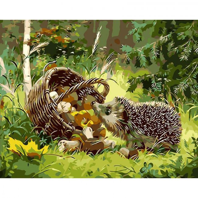 Kit pictura pe numere cu animale, Curious Hedgehog