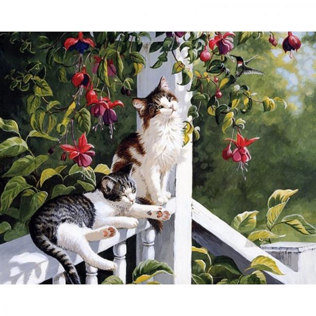 Kit pictura pe numere cu animale, Cats Sunbathing