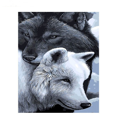Kit pictura pe numere cu animale, Spoiled Wolves