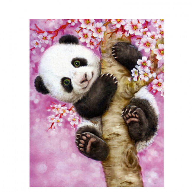 Kit pictura pe numere cu animale, Baby Panda Being Cute