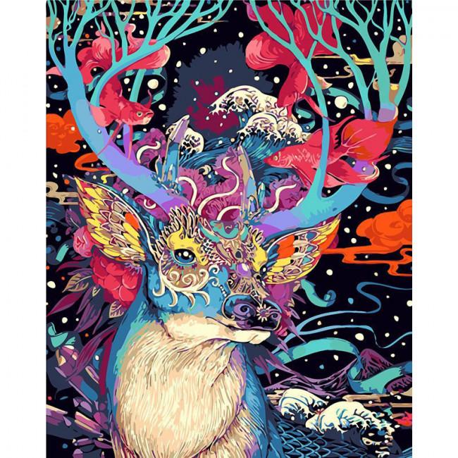 Kit pictura pe numere cu animale, Multicolored Deer