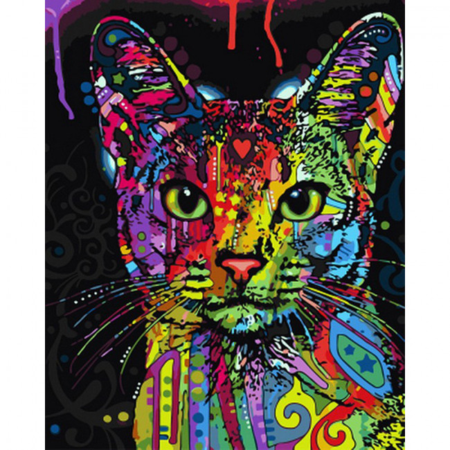 Kit pictura pe numere cu animale, Colorful Cat