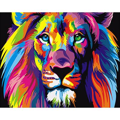 Kit pictura pe numere cu animale, Fantasy Lion