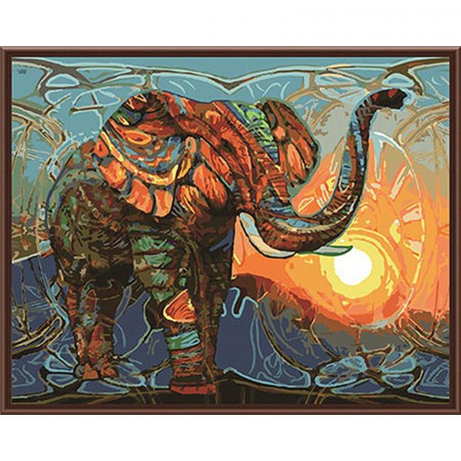 Kit pictura pe numere cu animale, Colorful Elephant