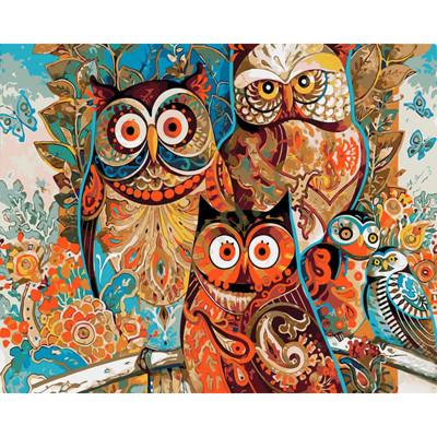 Kit pictura pe numere cu animale, Judgmental Owls