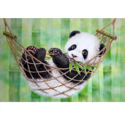 Kit pictura pe numere cu animale, Cute Baby Panda Eating