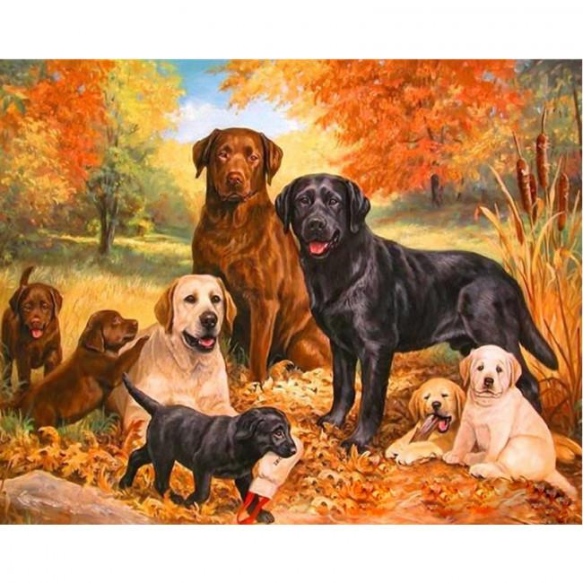 Kit pictura pe numere cu animale, Happy Family