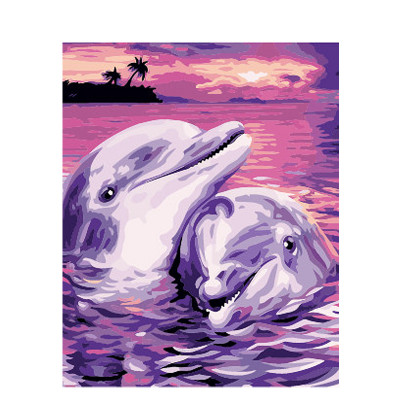 Kit pictura pe numere cu apa, Dolphins in Love