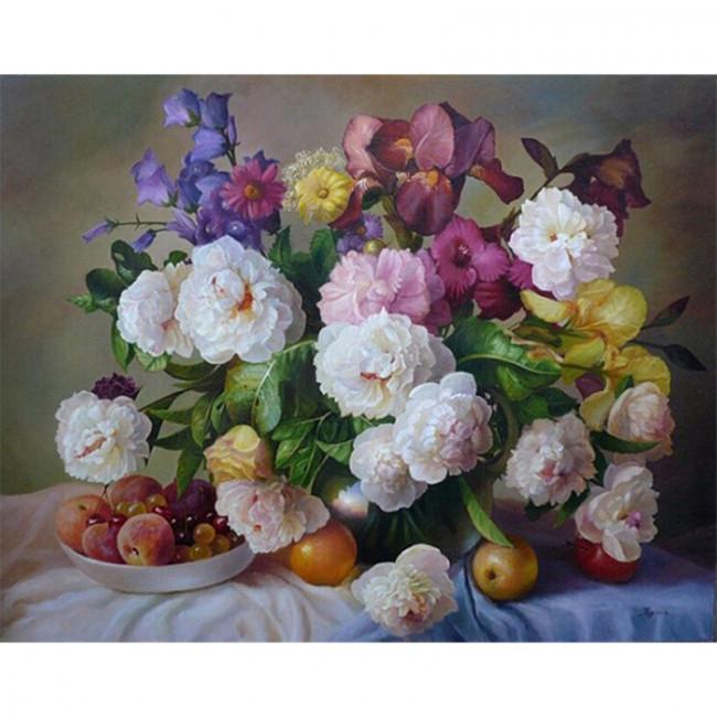 Kit pictura pe numere cu flori, white peonies