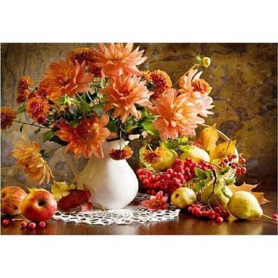 Kit pictura pe numere cu flori, Autumn in a vase of flowers