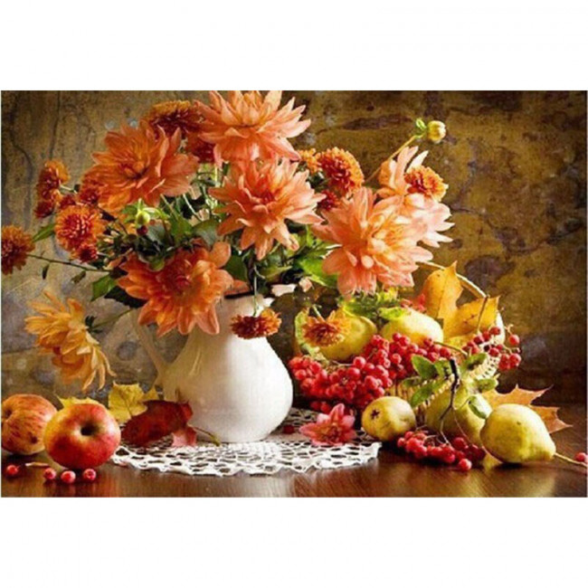 Kit pictura pe numere cu flori, Autumn in a vase of flowers