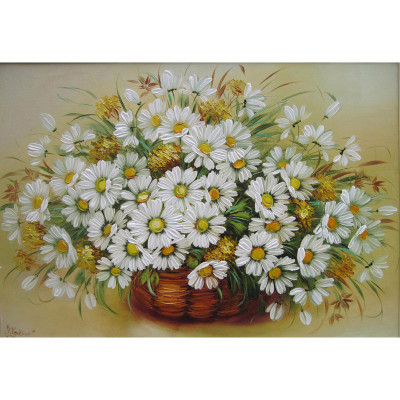 Kit pictura pe numere cu flori, A basket of daisies