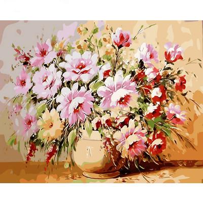 Kit pictura pe numere cu flori, Pinkish