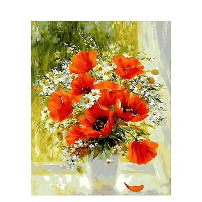 Kit pictura pe numere cu flori, Poppy flowers