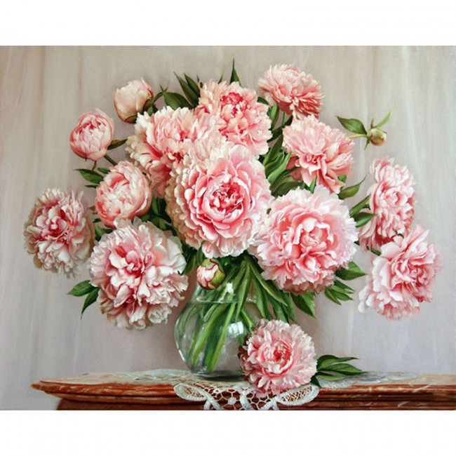 Kit pictura pe numere cu flori, For the Love of Peonies