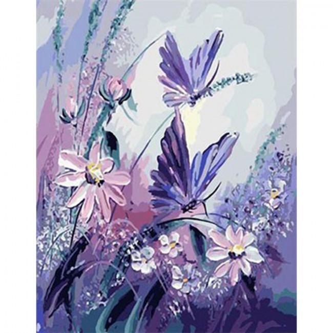 Kit pictura pe numere cu fluturi, The shadow of purple