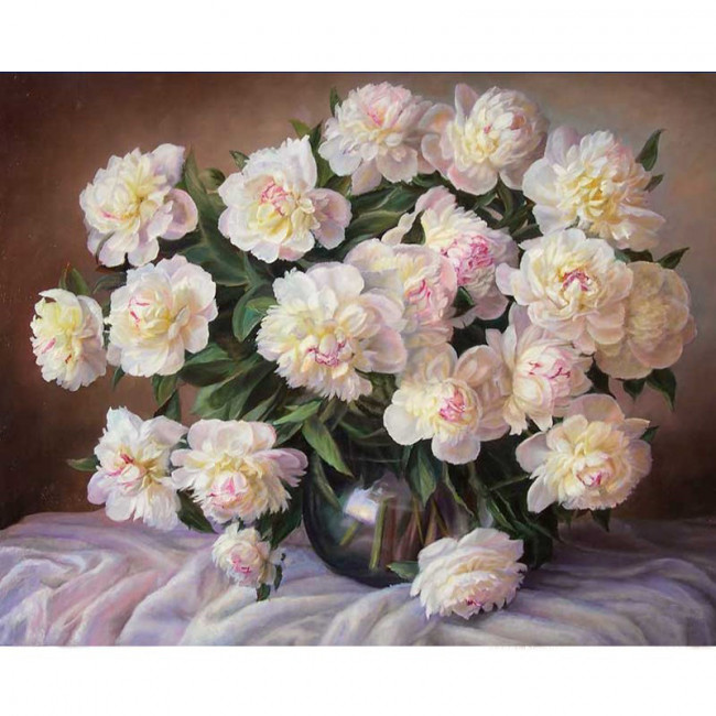 Kit pictura pe numere cu flori, Blossom peonies