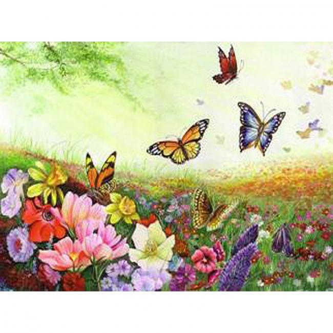 Kit pictura pe numere cu fluturi, Flowers & Butterflies