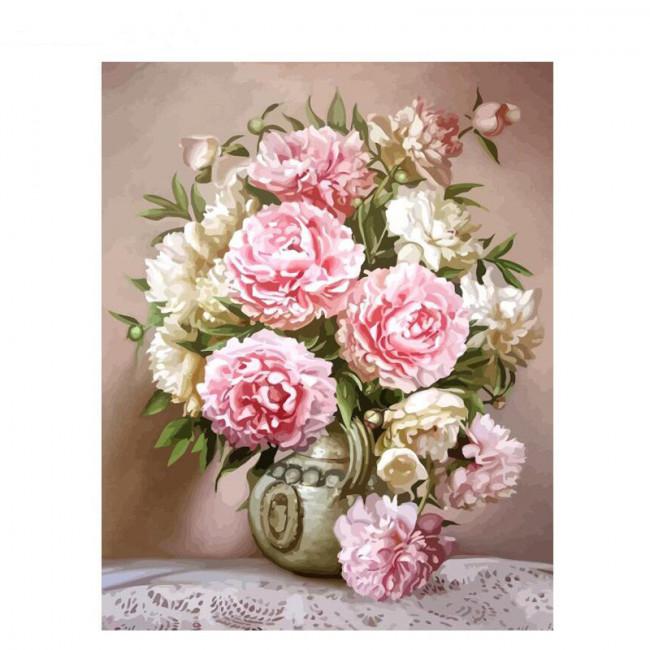 Kit pictura pe numere cu flori, Delicate flowers
