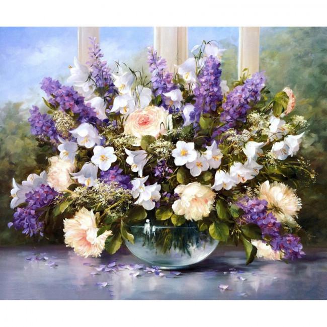 Kit pictura pe numere cu flori,  One of a kind