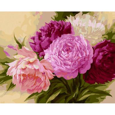 Kit pictura pe numere cu flori, Shades of Purple